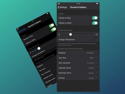 Neomorphic iOS settings