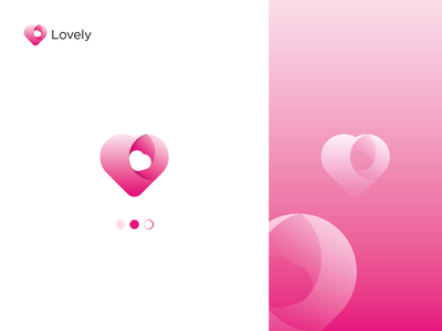 Lovely love branding modren 3d flat colorful logo