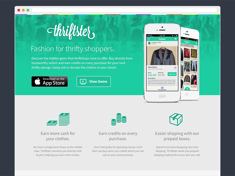 Thriftster landing page landing page ios mobile app download iphone website