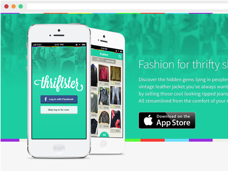 Thriftster App Landing Page mobile ios iphone product design script flat app landing download