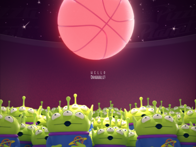 Hello Dribbble! render hello c4d debut after affects alien space toystory