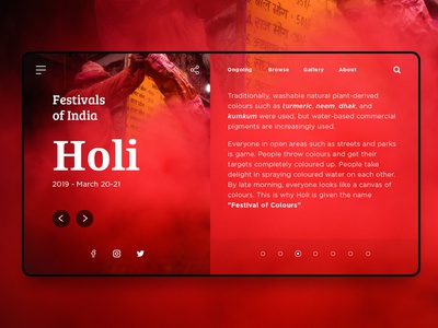 Concept website - Festivals of India landing page festival experiment red concept app india holi