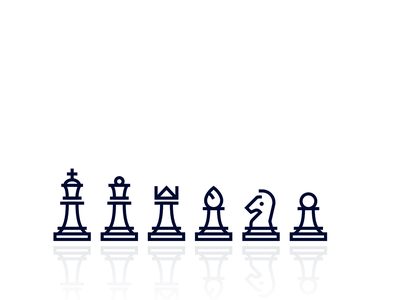 Chess Set king queen rook bishop knight pawn vector abstract line design line art icon minimalist chess set chess piece chess
