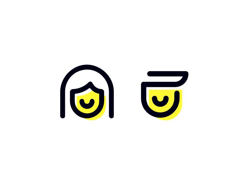 Branding - Mom & Dad minimalist icon branding
