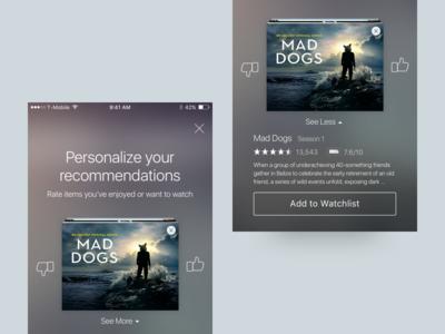 Amazon Video Wizard personalization amazon mobile app ios ux ui