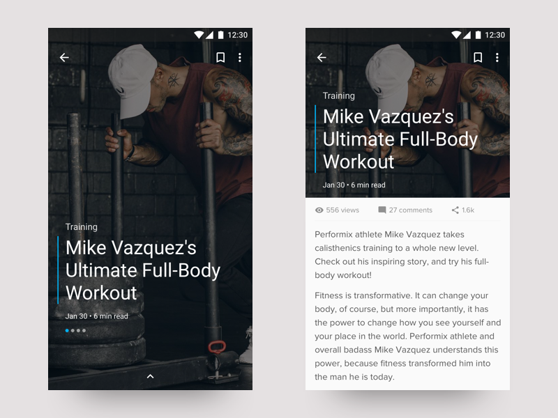 Article Template Exploration layout editorial app ux design ui android