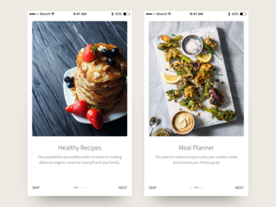 Food App Walkthrough mobile ios health recipe food simple clean app design ui