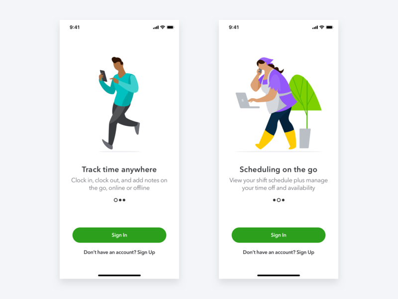 Quickbooks Time Center App ux clean sign up sign in illustration ios mobile design interface ui app