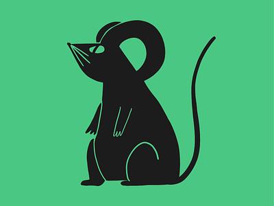 Big little mouse doodle cute mouse flat design illustration