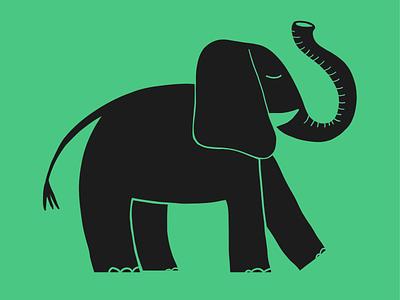 Big little elephant flat illustration doodle illustration cute elephant
