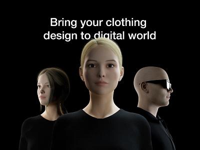 QLO - Bring clothing design to digital world 3d characters 3d character design 3d character illustration graphic design poster design landing page design landing page minimalism simplicity 3d brand identity blender3d