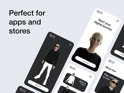 QLO showcase 3d art cinema4d blender3d app showcase app design 3d character modeling 3d character 3d character design 3d ui uidesign ui graphic design 3d simplicity minimalism