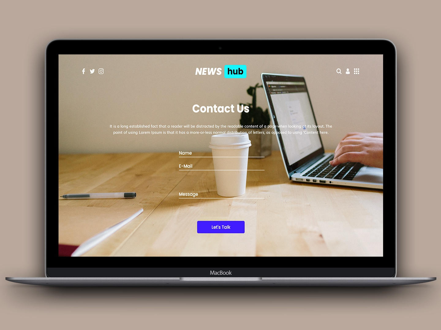 Contact Page NewsHub lets talk site template gwindor web design web site design newshub site design newshub site template newshub contact us contact page contact