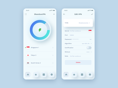 Skeuomorph UI for vpn app design ui