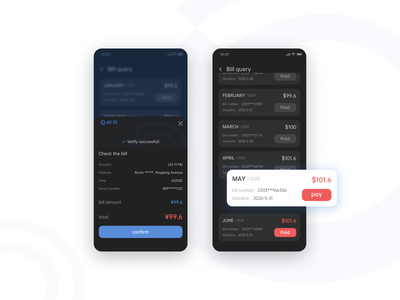 Pay the bills dark black bills interface design app ui
