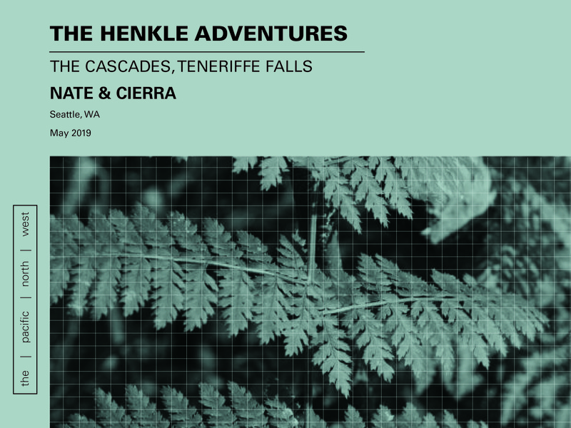 Layout Fun waterfalls mountains adventure imagery design fern pnw pacific northwest blue green plants type