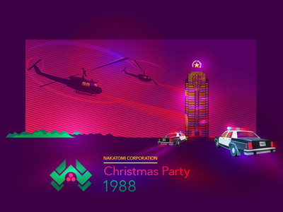 Nakatomi Christmas Party - 1988 illustration poster police party nakatomi movie helicopter hard die christmas card