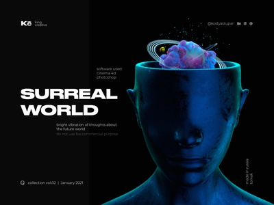 Surreal World | KC™ cyberpunk geometric illustration poster 3d art surrealism ux ui 3d abstract cinema4d