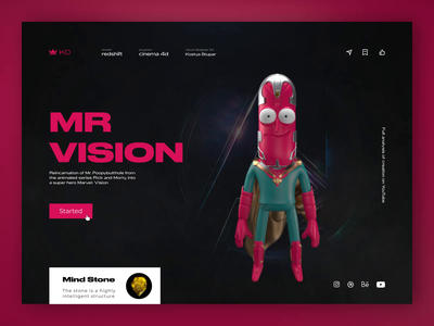 Mr Vision vision rickandmorty marvel figma web design website ux ui motion 3d art animation cinema4d illustration 3d