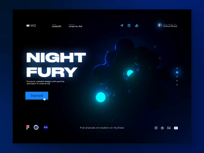 Nigty Fury   Webdesign xparticles particles after effect ux figma ui motion animation abstract 3d cinema4d webdesigns
