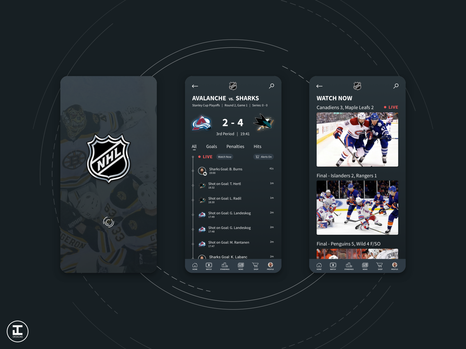 Nhl App Redesign Concept Updated By Jacob Caccamo On Dribbble