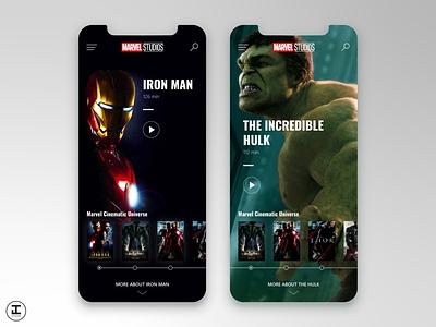 MCU App Concept: Iron Man (1) & The Incredible Hulk (2) shot iphonex illustrator adobe mobile screen app hulk marvel studios marvel comics iron man marvelcinematicuniverse mcu marvel superhero ux ui design