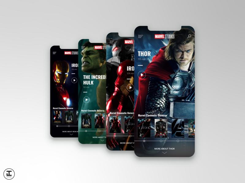 MCU App Concept: Thor (Movie #4) loki thor superhero mcu marvel comics marvelcinematicuniverse marvel iron man hulk shot iphone iphonex adobe mobile app illustrator ux ui design