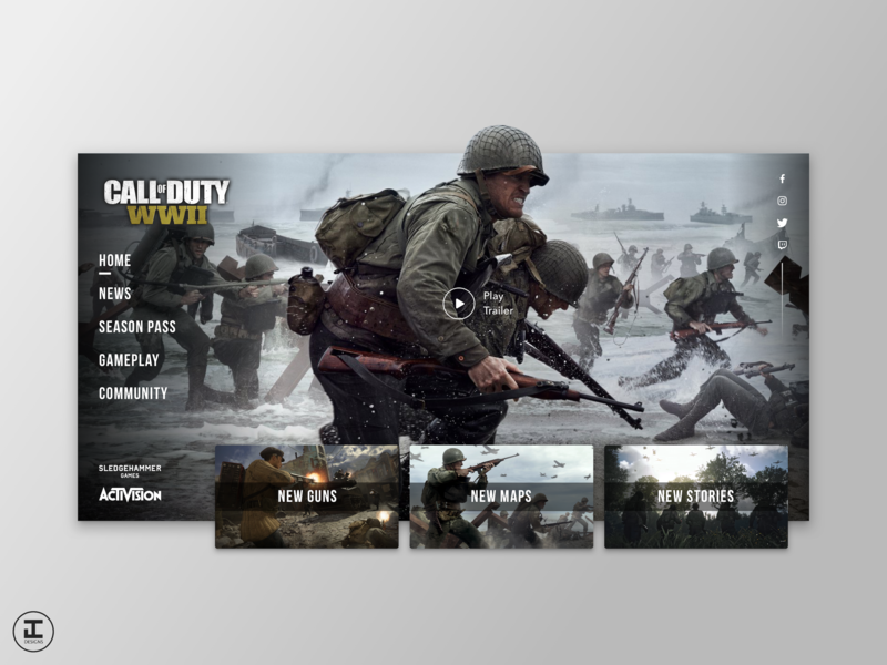 Call of Duty WWII - Website Redesign Concept shooters ux trends ui trends sketch game design game art call of duty wwii call of duty cod gamer gaming video games games ux ui design