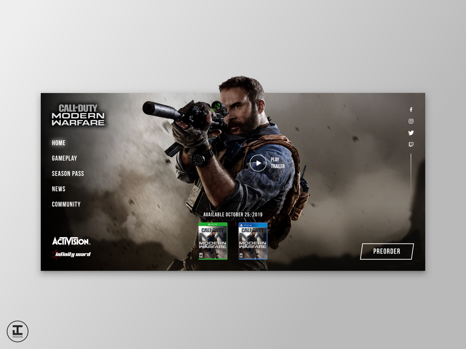 Call Of Duty Modern Warfare Website Design Concept By