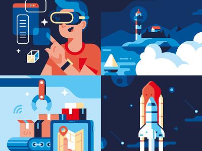 Molo17 - Illustrations cloud app website cloud lighthouse spaceship vector sho studio illustration sail ho studio