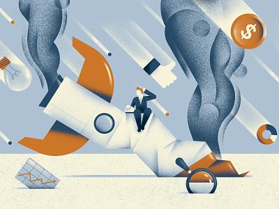 Quartz Field Guide - Lean Startup fail rocket startup lean startup texture editorial illustration editorial colors vector sho studio illustration sail ho studio