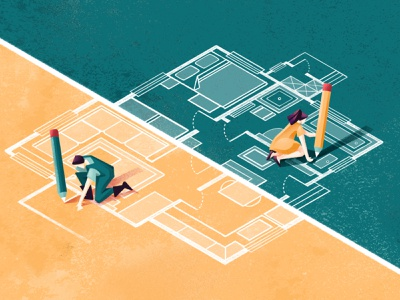 Buying a home together - The Wall Street Journal newspaper house market housing house home couple texture editorial illustration editorial sho studio illustration sail ho studio