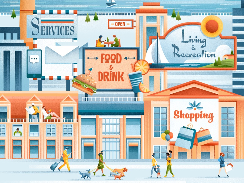 Virginia Living cover people drink food shopping virginia cover editorial illustration texture editorial illustration sho studio sail ho studio