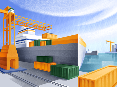 Matris header header web illustration loading cargo ship container cargo logistics ship port ipadpro procreate sho studio illustration sail ho studio