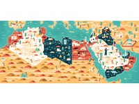 Wired Middle East - map sho studio illustration sail ho studio vector texture middle east map editorial illustration editorial