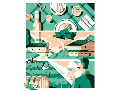 Borgo Fornasir - Billboard church dinner food italy restaurant agricolture poster wine village tower design colors vector illustration sail ho studio