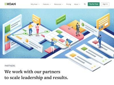 Koan - website illustrations project web team agile isometric team work project management website illustration website vector sho studio illustration sail ho studio