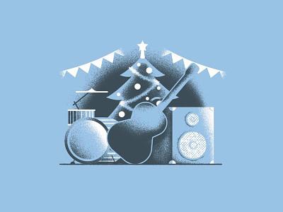 Rock Xmas texture holidays 2020 rock christmas drums guitar music band xmas tree xmas vector sho studio illustration sail ho studio