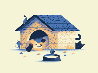 Non svegliare il can che dorme bird cat mouse kennel sleeping sleeping dog dog proverb book texture colors vector sho studio illustration sail ho studio