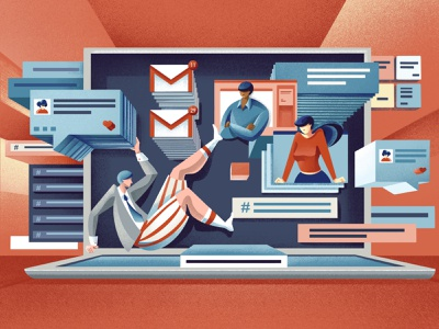 The future of workplace tech - Quartz field guide sailhostudio procreate texture work company tech slack email videocall messages chat app message