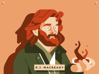 R J MacReady from The Thing actor character flat horror sci-fi vector sho studio illustration sail ho studio 80s movie the thing john carpenter