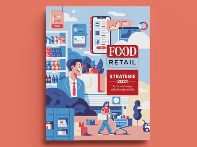 Food Retail Cover interfaces man woman market devices editorial issue magazine cover magazine cover characters flat vector sho studio illustration sail ho studio