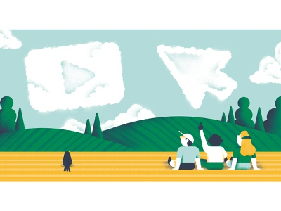 Kids and Youtube arrow clouds friends country field editorial video children kids texture vector sho studio illustration sail ho studio