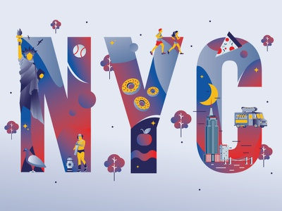 Cities of Colors - New York City new york city red typography typo cities illustration gradient music colors animation sho studio sail ho studio