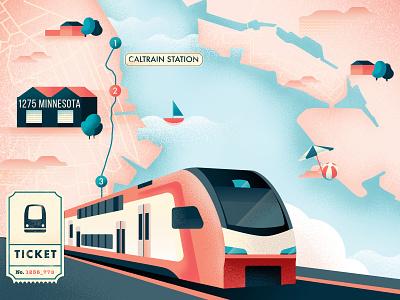 Caltrain map illustration train ticket sea railroad map design magazine editorial city map vector illustration sho studio sail ho studio