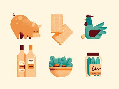 The Italian factory sail ho studio illustration vector sho studio illustrator icons pickles hen cookies pig salad wine editorial colors design