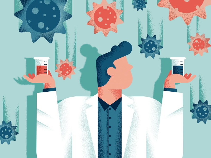 La repubblica - Flu Vaccines flu science virus vaccines vaccine scientist illustrator cover illustration editorial colors vector sho studio illustration sail ho studio