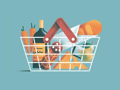 Food basket food and drink fruit groceries food and beverage food carrots cheese salame basket editorial colors vector sho studio illustration sail ho studio