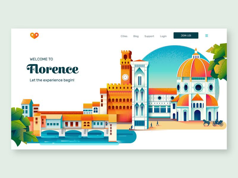 I love guido - tour sharing website tourguide tour florence city tourism website web illustration colors vector sho studio illustration sail ho studio