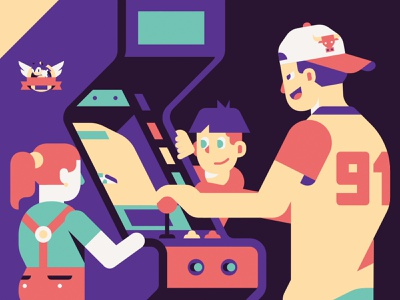 Arcade dreams sonic videogame 90s arcade motion gif motion design colors vector sho studio illustration sail ho studio